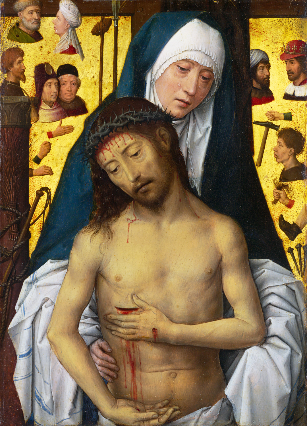 Hans_Memling - The Man of Sorrows in the arms of the Virgin