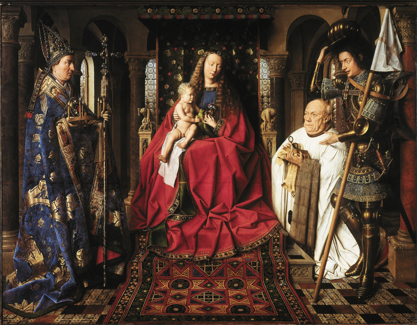 Jan van Eyck - The Virgin and Child with Canon van der Paele